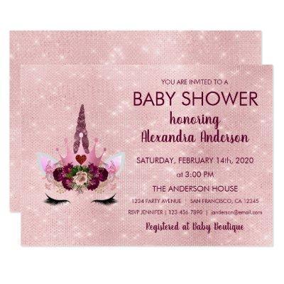 Girly Rose Gold Sparkle Unicorn Baby Shower Invitations