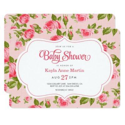 Girly Vintage Floral Roses Baby Shower Invitation