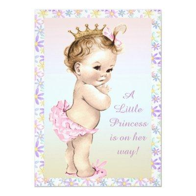 Girly Vintage Princess Floral Baby Shower Invitations