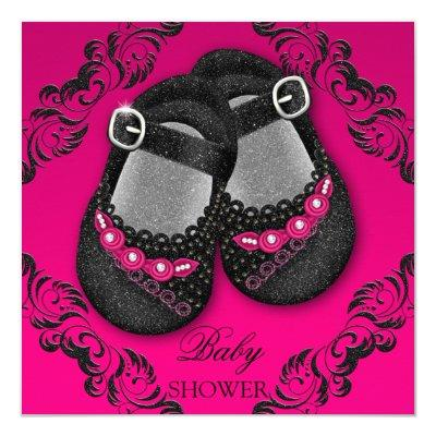 Glam Glitter Baby Shoes Hot Pink Black Baby Shower Invitations