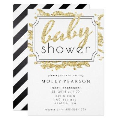 Glam Gold, Black and White Sparkle Baby Shower Invitations