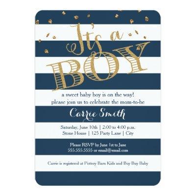 Glam Navy Rugby Stripe Boy Baby Shower Invitations