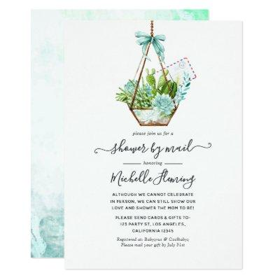 Glass Terrarium Succulents Baby Shower by Mail Invitation