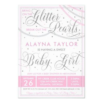 Glitter and Pearls Baby Shower Invitation, Pink Invitation