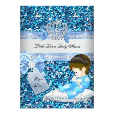 Glitter Baby Shower Boy Blue Little Prince Crown 4 Invitation