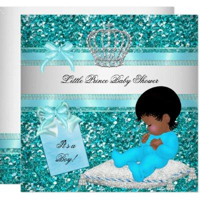 Glitter Baby Shower Boy Teal Little Prince Crown Invitation