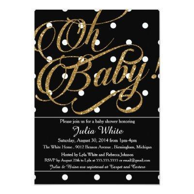 Glitter Baby Shower Invitation, Black and White Invitation