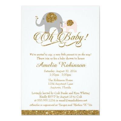 Glitter , Elephant Peanut Invitations