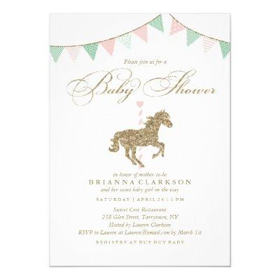 Glitter Carousel Horse | Baby Shower Invitations