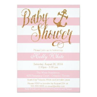 Glitter Nautical Girl Invitations