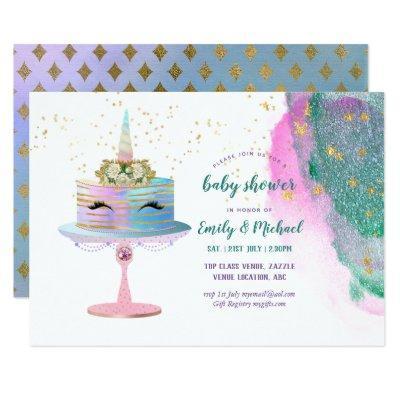 Glitter Pink Gold Unicorn Cake BABY SHOWER Girl Invitations