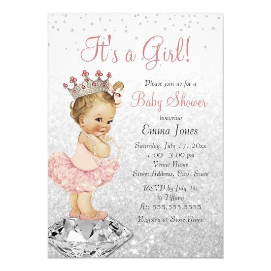 Glitter Pink Silver Princess Baby Shower Card