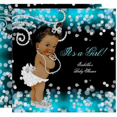 Glitter Teal Blue Black Girl Baby Shower Ethnic Invitation
