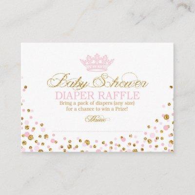 Glitter Tiara Royal Princess Diaper Raffle Ticket Enclosure Card