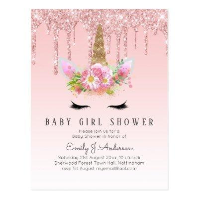 GLITTER UNICORN Baby GIRL Shower Pink Gold Postcard