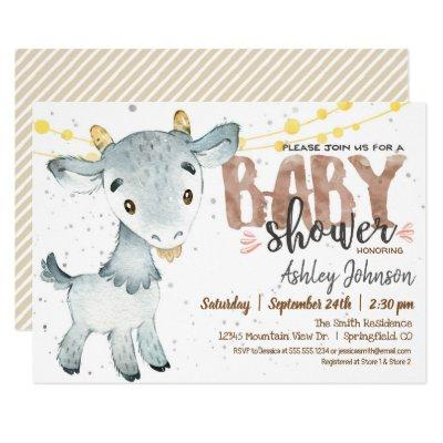 Goat Baby Shower Invitations, Boy, Farm Invitations