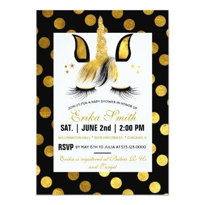 Gold and Black Unicorn Baby Shower Invitation