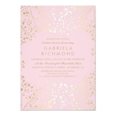 Gold and Pink Baby's Breath Bridal Shower Invitations