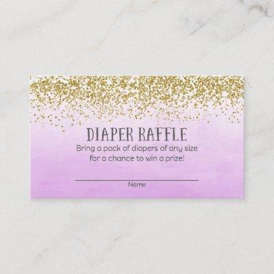 Gold and Purple Baby Shower Diaper Raffle Tickets Enclosure Card
