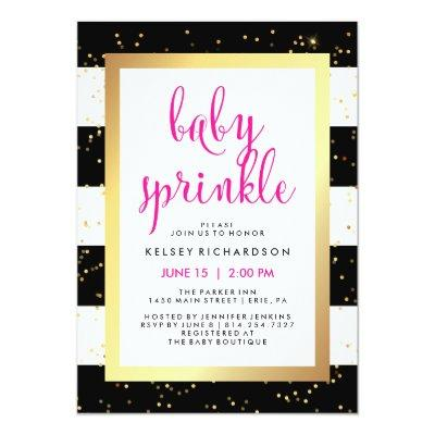Gold Black and White Stripes Baby Sprinkle | Pink Invitations