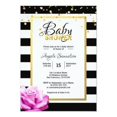 Gold Black White Floral Pink Rose Baby Shower Invitation