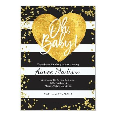 Gold black white striped baby shower Invitations