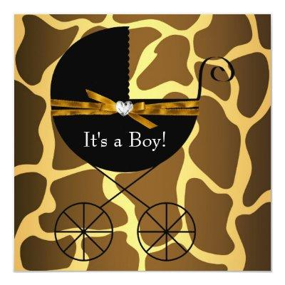Gold Brown Carriage Boys Giraffe Baby Shower Invitation