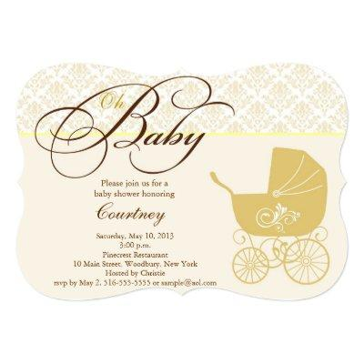 Gold Carriage Neutral Baby Shower Invitation