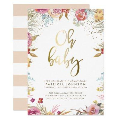 Gold Confetti & Typography Floral Oh Baby Shower Invitation