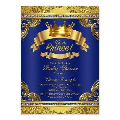 Gold Crown Royal Blue Fancy Prince Baby Shower Invitations