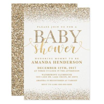 Gold Faux Glitter Baby Shower Invitation