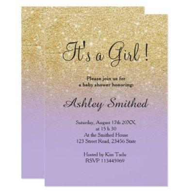 Gold faux glitter lavender ombre girl