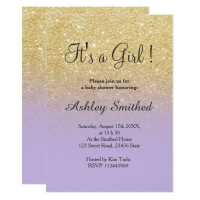 Gold faux glitter lavender ombre girl baby shower invitation