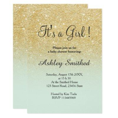 Gold faux glitter mint ombre girl baby shower invitation
