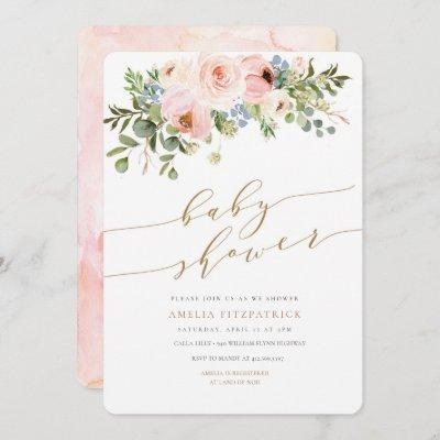 Gold Floral Baby Shower Invitation Girl