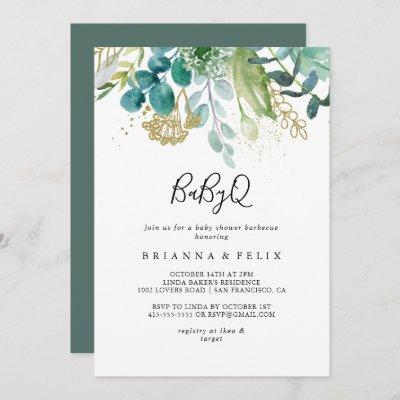Gold Floral Tropical BabyQ Baby Shower Barbecue Invitation
