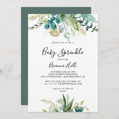 Gold Floral Tropical Greenery Baby Sprinkle Invitation