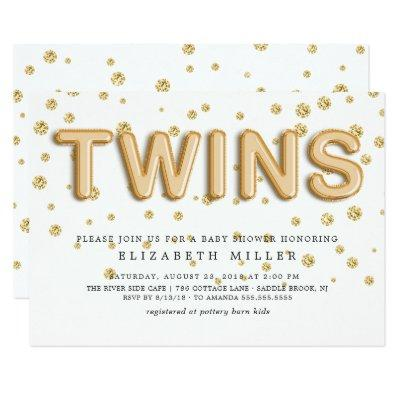 Gold Foil Balloons TWINS Baby Shower Invitation