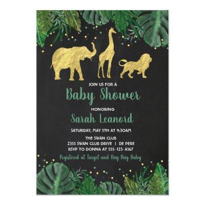Gold Foil Jungle Safari Animal Shower Invitation