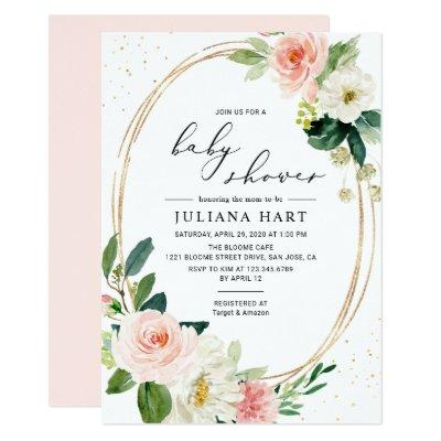Gold Geometric Blush Pink Floral Baby Shower Invitation