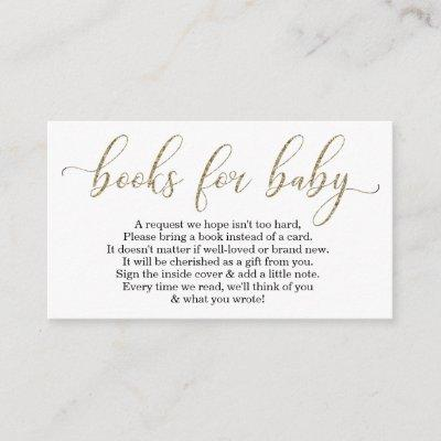 Gold Glitter Book Request - Baby Shower Invitations
