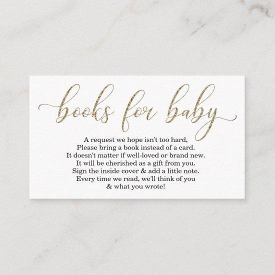 Gold Glitter Book Request - Baby Shower Invitations