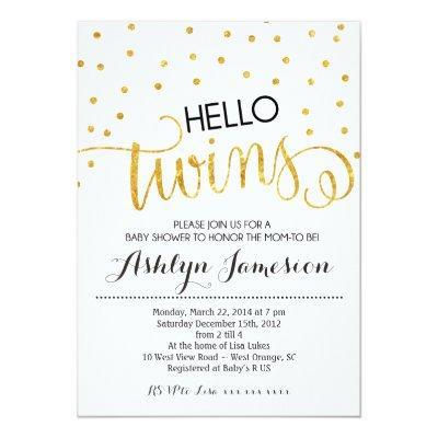 Gold Glitter Hello Twins Invitations