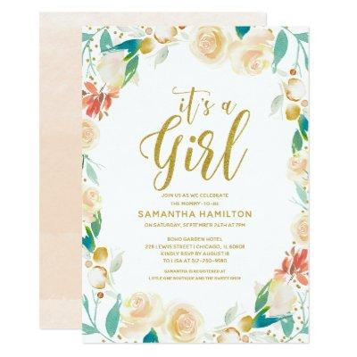 Gold Glitter Melon Floral Wreath Girl Baby Shower Invitations