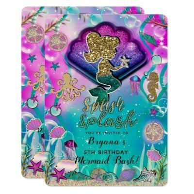 Gold glitter Mermaid & Shells Under the Sea Party Invitation