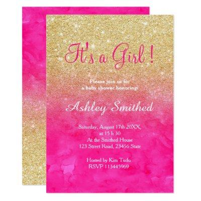 Gold glitter pink watercolor ombre baby shower invitation