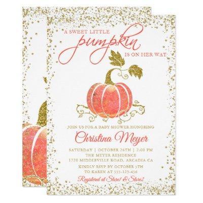 Gold Glitter Pumpkin Fall Baby Shower Invitation