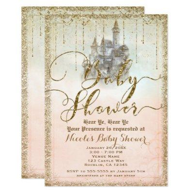 Gold Glitter Storybook Castle Baby Shower Invitation
