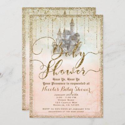 Gold Glitter Storybook Castle Baby Shower Invitation