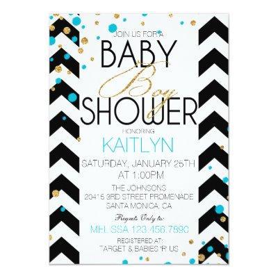 Gold Glitter Turquoise Sprinkles Baby Shower Invitation